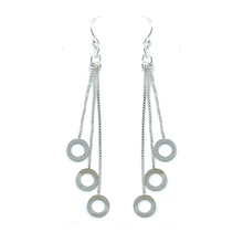 Sterling Silver Chain Fringe Open Circle Earrings - Sterling Silver Jewelry
