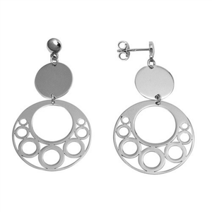 Sterling Silver Open Circle Disc Stud Earrings - SeaSpray Jewelry