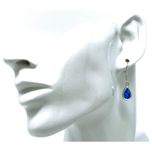 Sterling Silver Dangle Teardrop Blue Opal Earrings - SeaSpray Jewelry