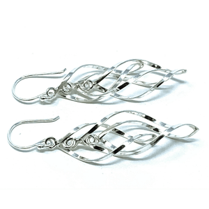 Sterling Silver Dangle Twist Curve Earrings - SeaSpray Jewelry