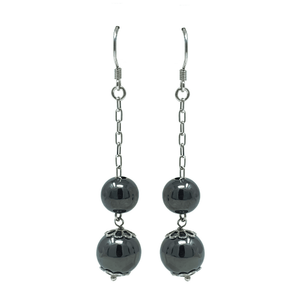 Sterling Silver Double Ball Chain Dangle Earrings - SeaSpray Jewelry