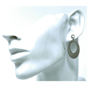 Sterling Silver Drop Oval Earrings - SeaSpray Jewelry
