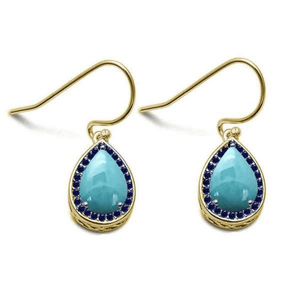 Larimar & Sapphire Teardrop Gold Plated Sterling Silver Earrings - SeaSpray Jewelry