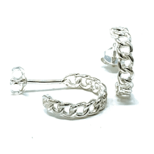 Silver Link Half Hoop Earrings - Sterling Silver Earrings