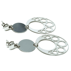 Drop Open Circle Disc Sterling Silver Earrings - SeaSpray Jewelry
