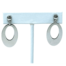 Sterling Silver Oval Drop Stud Earrings - SeaSpray Jewelry