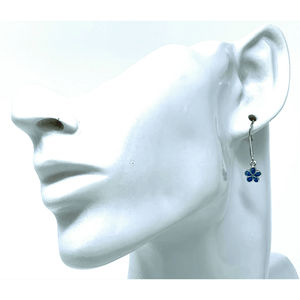 Sterling Silver Plumeria Flower Blue Opal Earrings - SeaSpray Jewelry