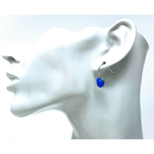 Sterling Silver Round Blue Opal Earrings - SeaSpray Jewelry