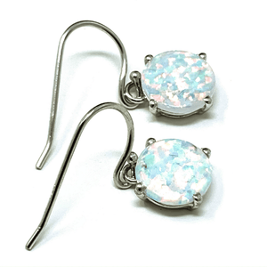 Sterling Silver Round White Opal Earrings - SeaSpray Jewelry