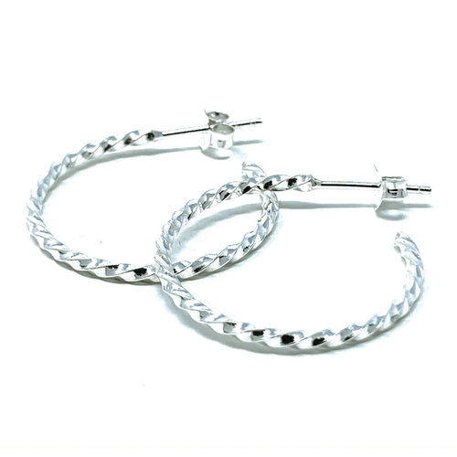 Sterling Silver Twisted Half Hoop Earrings - SeaSpray Jewelry