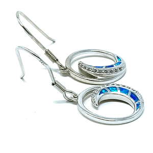 Sterling Silver Wave With Blue Opal Earrings - SeaSpray Jewelry
