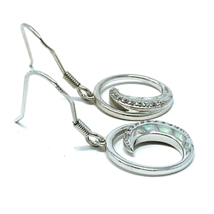 Sterling Silver Wave With White Opal Earrings - SeaSpray Jewelry
