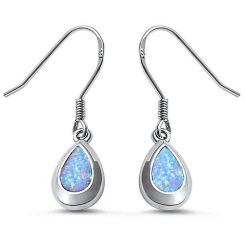 Sterling Silver White Opal Teardrop Dangle Earrings