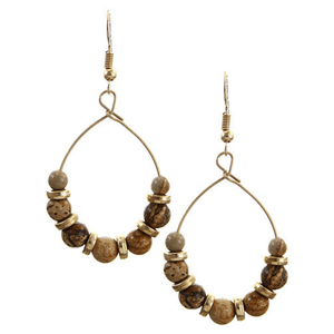 2.5 inch Stone & Gold Beaded Teardrop Hoop Earring