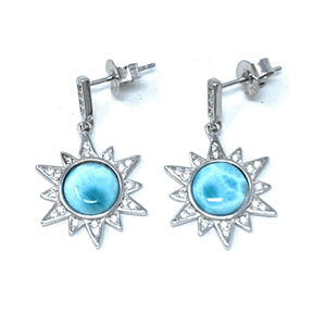 Sun Burst Larimar & CZ Sterling Silver Stud Earrings - SeaSpray Jewelry