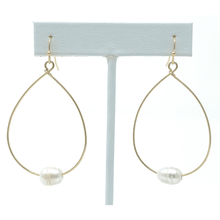 Teardrop Gold Hoop Dangle Freshwater Pearl Earrings For Women - Fashion Jewelry