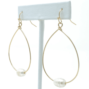 Freshwater Pearl Gold Hoop Dangle Teardrop Earrings For Women - Costume Jewelry