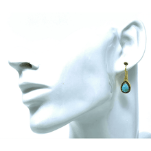 Teardrop Gold Larimar & Sapphire Earrings - SeaSpray Jewelry