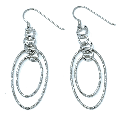Textured Double Oval Circle Link Sterling Silver Earrings - SeaSpray Jewelry
