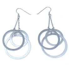 Sterling Silver Flat Triple Open Circle Dangle Earrings - SeaSpray Jewelry