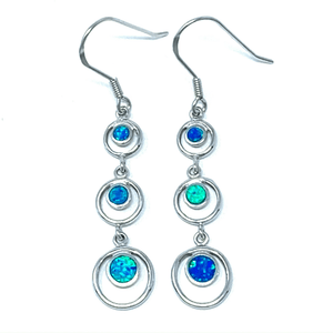 Three Blue Opal Circle Sterling Silver Dangle Earrings