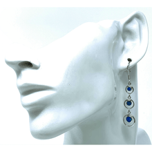 Silver Open Circle Blue Opal Earrings - SeaSpray Jewelry