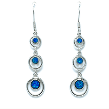 Three Blue Opal Circle Sterling Silver Earrings - SeaSpray Jewelry