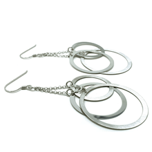 Three Open Circle Dangle Sterling Silver Earrings - SeaSpray Jewelry