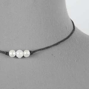 Three Pearl Black Cord Necklace - Close Up - Women's Fashion Jewelry