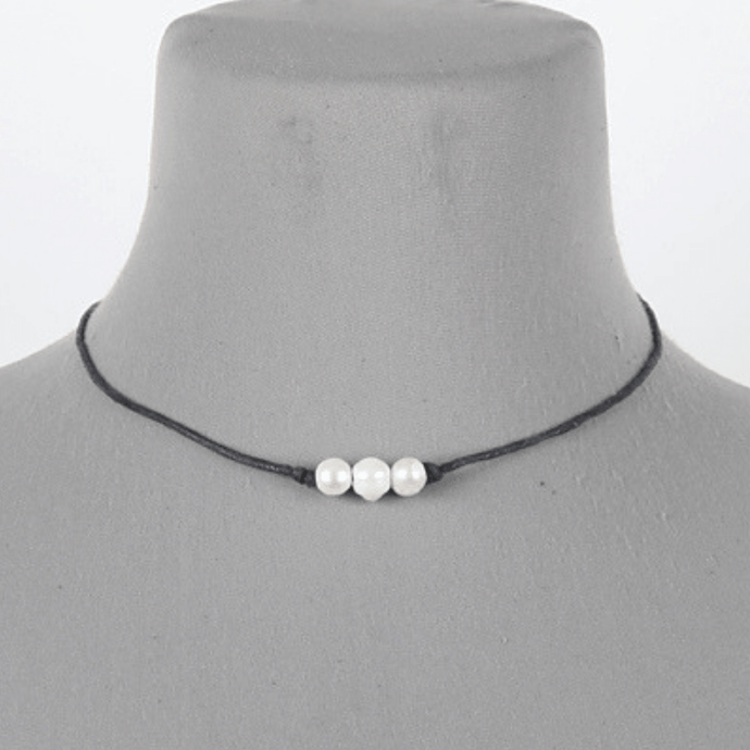 Three Pearl Black Cord Necklace - Women's Fashion Jewelry