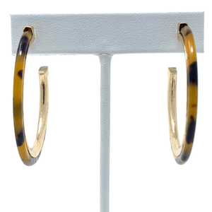 Tortoise Shell Acetate Resin Earrings With Gold Trim