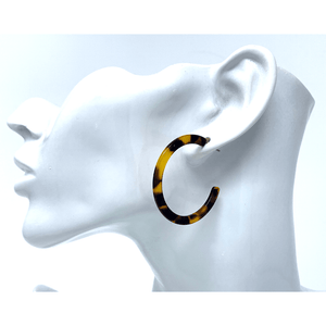 Tortoise Shell Marbled Resin Circle Hoop Earrings For Women - Costume Jewelry