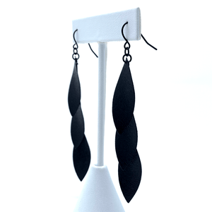 Trendy Long Black Leaf Earrings For Women - Fashion Jewelry
