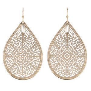 Fashion Gold Filigree Teardrop Dangle Earrings