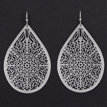 Trendy Silver Filigree Teardrop Dangle Earrings For Women