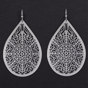 Trendy Silver Filigree Teardrop Dangle Earrings For Women - Fashion Jewelry