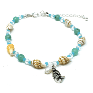 Turquoise Beaded Silver Anklet Mermaid Jewelry