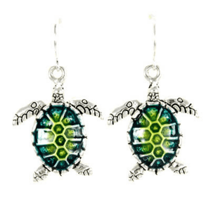 Turquoise Sea Turtle Epoxy Dangle Earrings - Fashion Jewelry