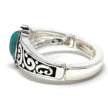 Silver Turquoise Stone Stretch Ring - Statement Jewelry