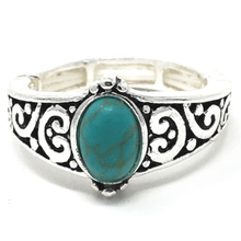 Silver Turquoise Stone Stretch Ring - Costume Jewelry