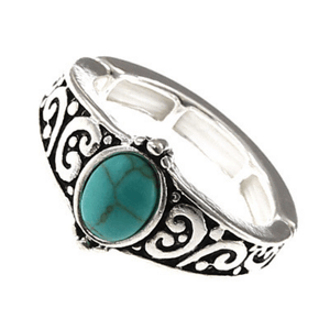Silver Turquoise Stone Stretch Ring - Fashion Jewelry
