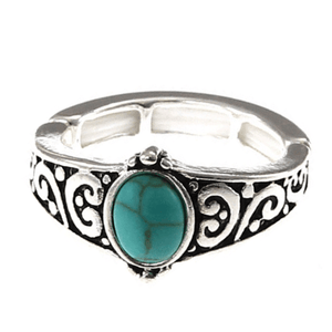 Silver Turquoise Stone Stretch Ring For Women - Fashion Jewelry