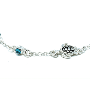 Turtle Silver Ankle Bracelet With Blue Rhinestone - Beach Anklets