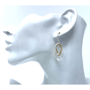 Twist Silver & Gold Curve Hoop Dangle Earrings For Women - Fashion Jewelry