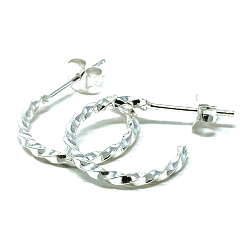 Silver Twisted Half Hoop Earrings - Sterling Silver Stud Earrings