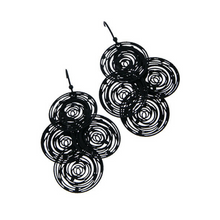 Black Overlapping Round Wire Dangle Boho Earrings