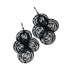 Black Circle Disc Dangle Earrings - Fashion Jewelry
