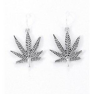 Silver Hemp Leaf Fish Hook Earrings