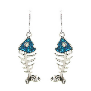 Silver & Blue Fish Bone Dangle Earrings with Rhinestone Accents - Nautical Earrings