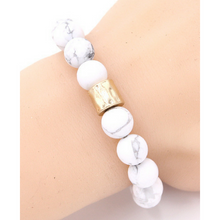 White Howlite Beaded Boho Stretch Bracelet